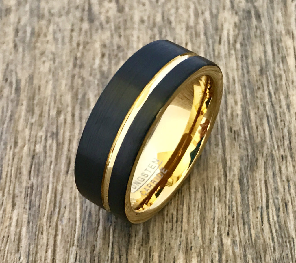 8mm Matte Black and Gold Tungsten Carbide Wedding Band - Comfort Fit