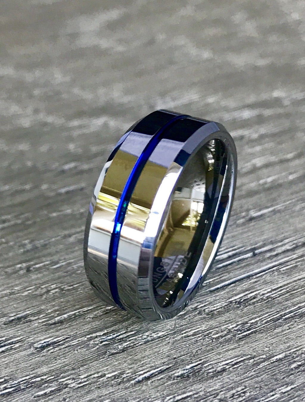 8mm Silver Tungsten Carbide Wedding Band with Blue Line and Beveled Edge- Comfort Fit