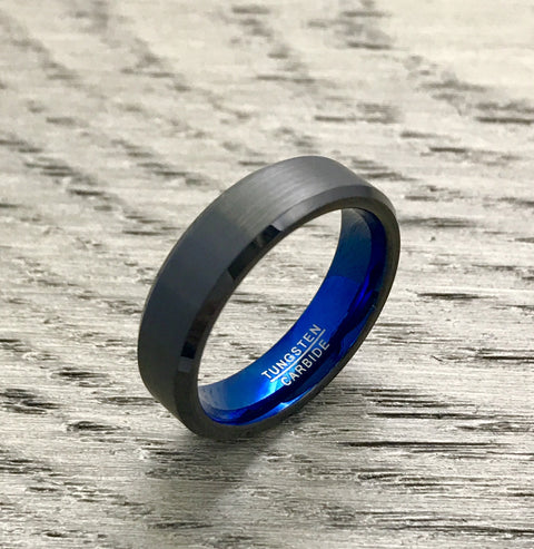 6mm Brushed Black and Blue Tungsten Wedding Band with Beveled Edge - Comfort Fit