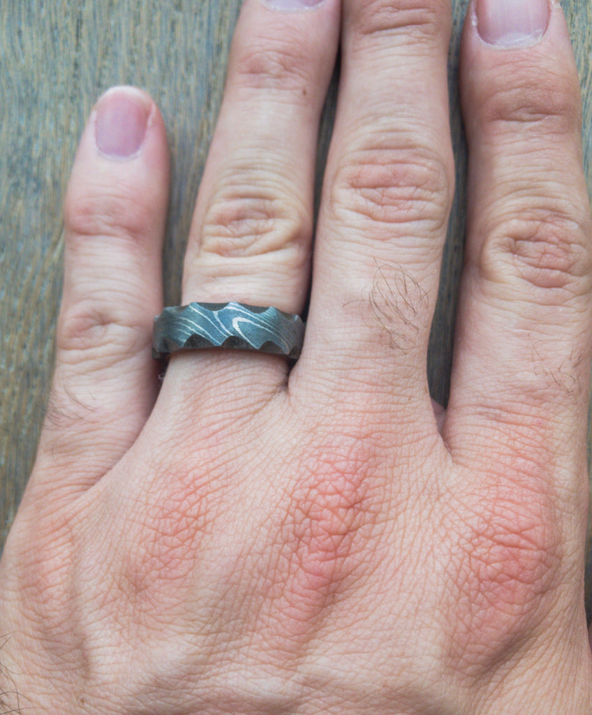 REAL HANDMADE DAMASCUS RING UNISEX WITH GIFT BOX