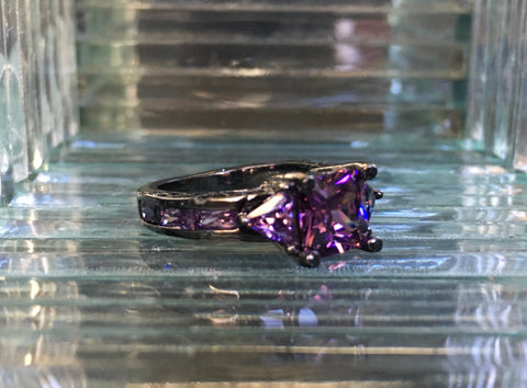 Vintage 2ct Princess Cut Amethyst CZ Ring