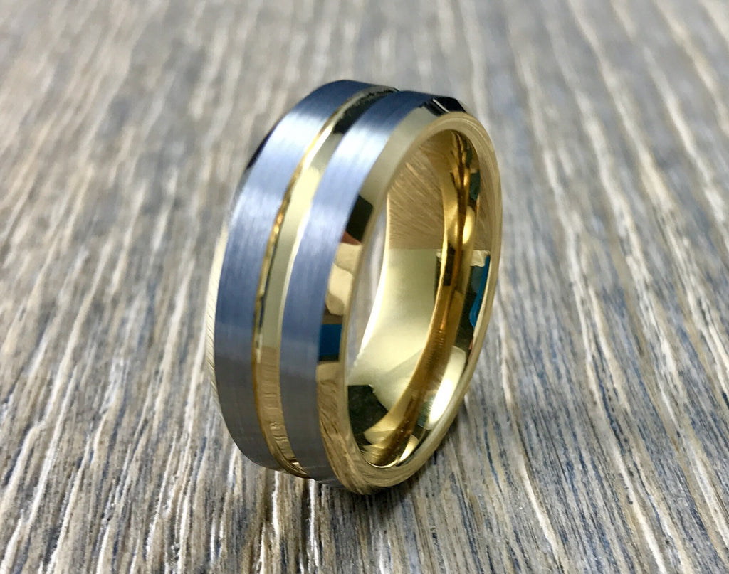 8mm Brushed Silver and Gold Tungsten Carbide Wedding Band- Comfort fit