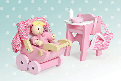 New Le Toy Van Daisylane Rosebud Pram Nursery Set & Baby Wooden Toy Daisy Lane - BumpsieDaisy