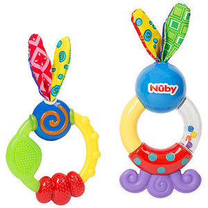 New Nuby Teething Set Includes Wacky Teething Ring & Teethe & Shake 2PK Teether - BumpsieDaisy