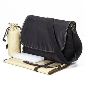 New OiOi Black Twill Messenger Nappy Baby Bag *SPECIAL OFFER* - BumpsieDaisy