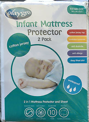 New Playgro Cotton Jersey Fitted Cot Waterproof Mattress Protector Twin Pack (2) - BumpsieDaisy