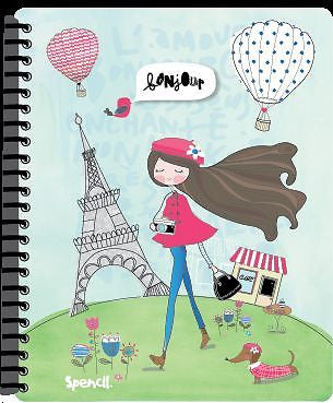 Spencil Paris Girl A4 School Display Book 20 Plastic Pockets