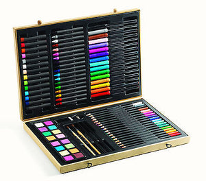 NEW Djeco 88 PCS Big Box of Colours Childrens Art Set Pencils Pens Crayons Paint - BumpsieDaisy
