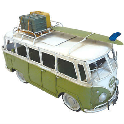 NEW VW Volkswagen Combi Kombi Hippy Van with Surfboard & Luggage Green Metal - BumpsieDaisy