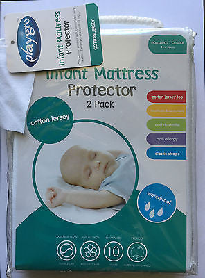 Playgro Cotton Jersey Waterproof Cradle Portacot Mattress Protector Twin Pack - BumpsieDaisy