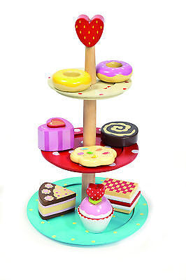 Le Toy Van Honeybake 3 Tier Wooden Cake Cupcake High Tea Stand Set - BumpsieDaisy