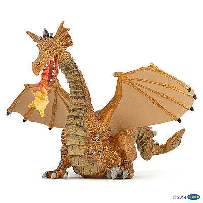 New Papo Gold Dragon with Flame Fire Breathing Fantasy Enchanted World 39095 - BumpsieDaisy