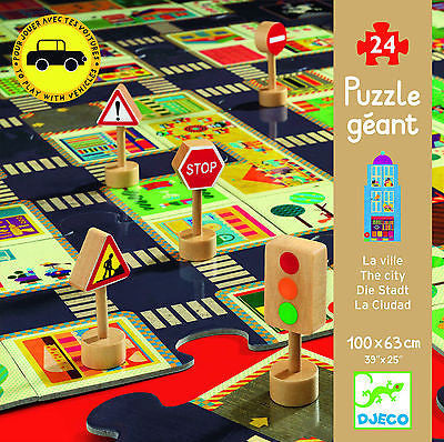 New Djeco City Road 24pc Giant Wooden Puzzle Car Playmat & Traffic Accessories - BumpsieDaisy