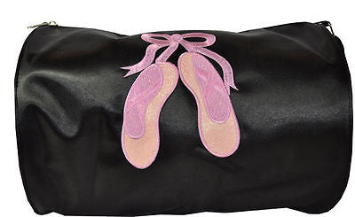 Spencil Black Satin Pink Ballet Shoes Dance Sport Bag - BumpsieDaisy