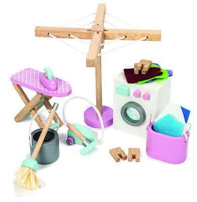 New Le Toy Van Daisylane Rosebud Laundry Room Furniture Set Wooden Toy - BumpsieDaisy