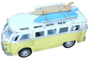 NEW VW Volkswagen Combi Kombi Hippy Van with Surf Boards Yellow Metal - BumpsieDaisy