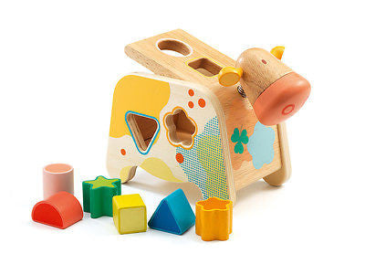 New Djeco Maggy Cow Shape Sorter Wooden Toddler Toy 18m+ - BumpsieDaisy