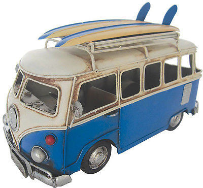 NEW VW Volkswagen Combi Kombi Van Flip Photo Frame w surfboards Blue Metal 28cm - BumpsieDaisy