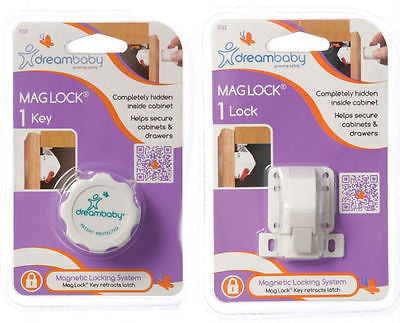 New Dreambaby Mag Lock 1 Lock 1 Key Magnetic Cabinet Drawer Baby Safety Dream - BumpsieDaisy