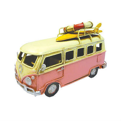 NEW VW Volkswagen Combi Kombi Van with Lifebuoy & Surfboard Pink Metal Decor - BumpsieDaisy