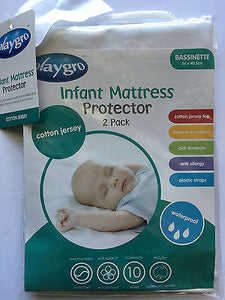 NEW Playgro Cotton Jersey Waterproof Bassinette Mattress Protector Twin Pack (2) - BumpsieDaisy