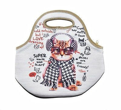 Spencil Cat in Ear Muffs Neoprene School Lunch Bag with zip & handles - BumpsieDaisy