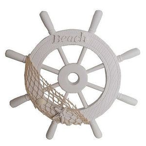 NEW White Wooden Ships Wheel with Fishing Net Shells Beach Coastal Theme - BumpsieDaisy