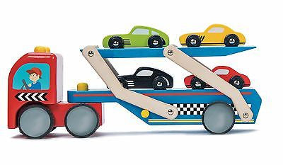 New Le Toy Van Race Car Transporter Wooden Wood Truck & Car Set Incl 4 Cars - BumpsieDaisy
