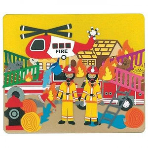 NEW Felt Creations Fire Engine Helicopter Firemen Scene Puzzle Felt Board - BumpsieDaisy