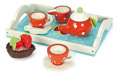 New Le Toy Van Honeybake Tea Set with Cups Saucers Teapot & Tray Wood Wooden Set - BumpsieDaisy