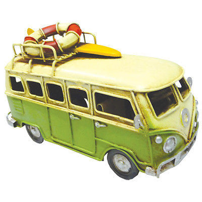 NEW VW Volkswagen Combi Kombi Van with Lifebuoy & Surfboard Green Metal Decor - BumpsieDaisy