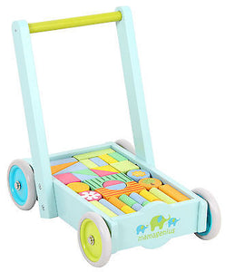 NEW Mamagenius Wooden Wagon Baby Toddler Walker with Wood Blocks Educational Toy - BumpsieDaisy