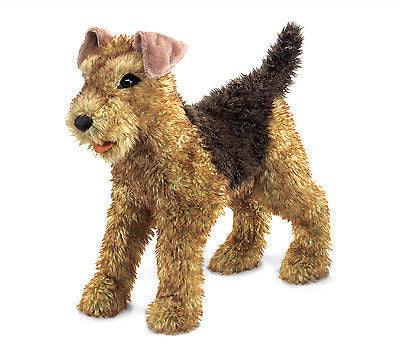 New Folkmanis 2993 Airedale Terrier Dog Full Body Hand Puppet moveable head jaw - BumpsieDaisy