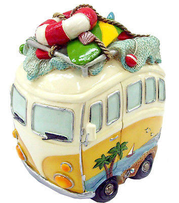 NEW VW Volkswagen Kombi Combi Hippy Van Money Box with Beach Gear - Yellow - BumpsieDaisy