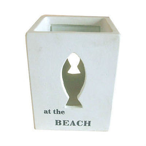 NEW White Cement Tealight Candle Votif Fish Beach Design 'At the Beach' - BumpsieDaisy
