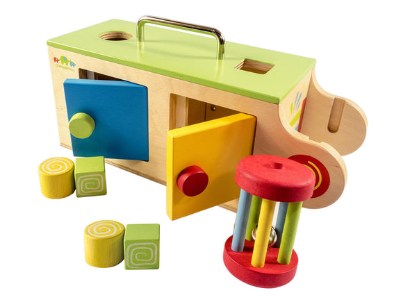 NEW Mamagenius Baby Activity Wooden Play Box Educational Toy with Rattle Wood - BumpsieDaisy