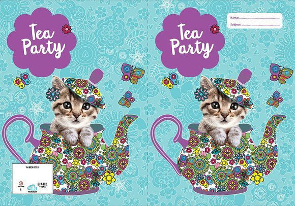 Spencil Flutterby Tea Party Cat Kitten Scrapbook School Book Cover - BumpsieDaisy