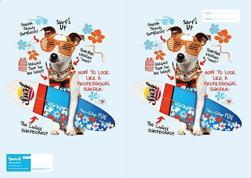 Spencil Surf's Up Dog Surfer Scrapbook School Book Cover - BumpsieDaisy