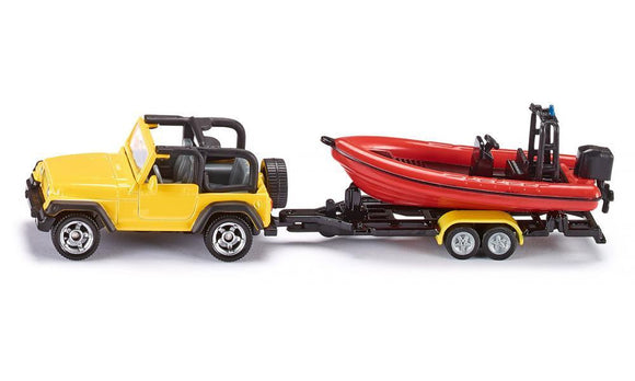 NEW Siku Jeep Wrangler with Boat and Trailer Die Cast Toy Car 1658 - BumpsieDaisy