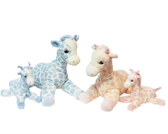 New Korimco Twinkles Small Giraffe Rattle Baby Toy 16cm Blue or Pink Available - BumpsieDaisy