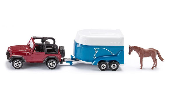 NEW Siku Jeep Wrangler with Horse Trailer Die Cast Toy Car 1651 - BumpsieDaisy