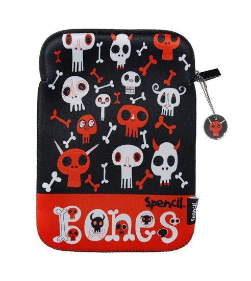 Spencil Ipad Tablet Sleeve Case Bones Neoprene Zip Closure - BumpsieDaisy