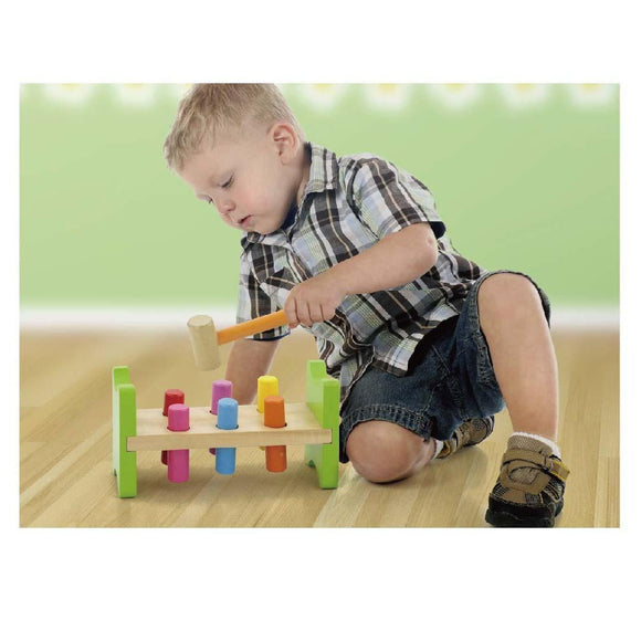 New Viga Pound a Peg Wooden Wood Toy Hammering Bench Includes Mallet - BumpsieDaisy