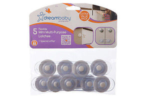 New Dreambaby 5 x Baby Safety Flexible Mini Multi Purpose Latches Dream Value - BumpsieDaisy
