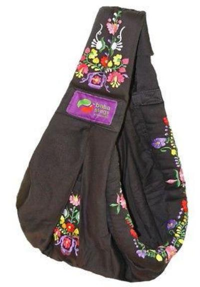 Baba Sling Baby Carrier Embroidered Black - BumpsieDaisy