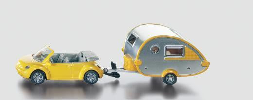NEW Siku VW Volkswagen Convertible Beetle Car & Caravan Die Cast Toy Car 1629 - BumpsieDaisy