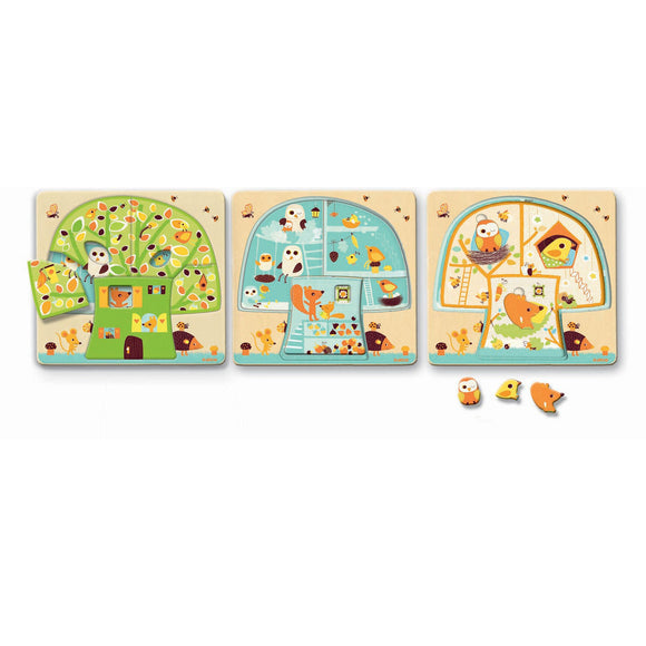 Djeco Tree House 3 Layer Wooden Puzzle 2+ - BumpsieDaisy