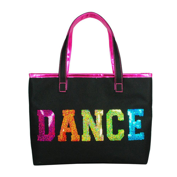Pink Poppy Black Sequinned Dance Ballet Childrens Small Tote Bag - BumpsieDaisy