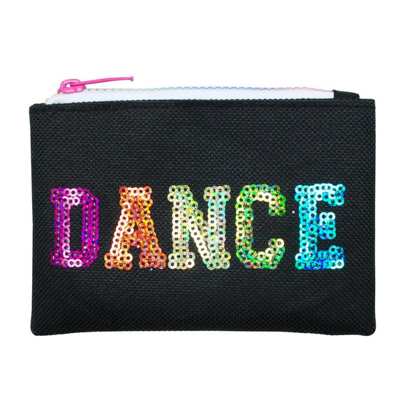Pink Poppy Black Sequinned Dance in Style Zipped Coin Purse - BumpsieDaisy