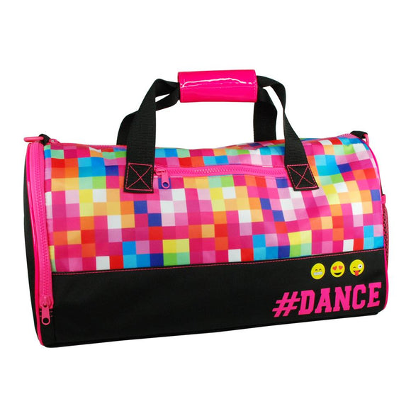 Pink Poppy Black Pixel Emoji # Dance Ballet Childrens Carry All Sport Bag - BumpsieDaisy